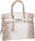 Luxury Accessories:Bags, Hermes Ultra Rare 30cm Himalayan Crocodile Birkin Bag with Palladium Hardware. ...