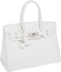 Luxury Accessories:Bags, Hermes 30cm White Clemence Leather Birkin Bag with PalladiumHardware. ...