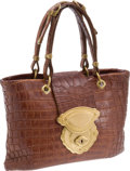 Luxury Accessories:Bags, Bottega Veneta Limited Edition Natural Brown Crocodile Bag withGold Hardware, Retail ~$16,000. ...