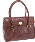 Luxury Accessories:Bags, Lambertson Truex Matte Brown Crocodile Classic Flap Bag. ...