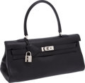 Luxury Accessories:Bags, Hermes Black Clemence Leather Shoulder Kelly Bag with PalladiumHardware. ...