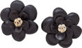 Luxury Accessories:Accessories, Chanel Black Flower Earrings. ...