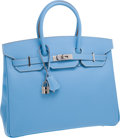Luxury Accessories:Bags, Hermes Candy Collection 35cm Two-Tone Celeste Epsom Leather withMykonos Blue Interior Birkin Bag with Palladium Hardware. ...