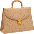 Luxury Accessories:Bags, Lana Marks Beige Ostrich Medium Top Handle Bag. ...