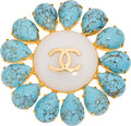Luxury Accessories:Accessories, Chanel Turquoise & Poured Glass 1996P Brooch. ...