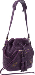 Luxury Accessories:Bags, Balenciaga Purple Perforated Drawstring City Bag with GoldHardware. ...