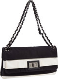 Luxury Accessories:Bags, Chanel Black & White Stripe Flap Bag with Mademoiselle Clasp. ...