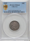 Early Dimes, 1805 10C 4 Berries MS64 PCGS Secure. PCGS Population (28/19). NGCCensus: (29/24). Mintage: 120,780. Numismedia Wsl. Price ...