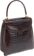 Luxury Accessories:Bags, Lana Marks Dark Brown Shiny Alligator Princess Diana Bag withShoulder Strap. ...