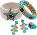 Luxury Accessories:Accessories, Set of Four: Kenneth J Lane Turquoise Bangle Bracelet, Ring, &Earrings. ...