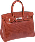 Luxury Accessories:Bags, Hermes 35cm Shiny Rouge H Porosus Crocodile Birkin Bag with Palladium Hardware. ...