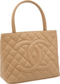 Luxury Accessories:Bags, Chanel Beige Caviar Leather Classic Medallion Tote Bag. ...