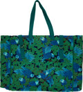 Luxury Accessories:Travel/Trunks, Hermes Blue & Green Jungle Design Canvas Large Tote. ...