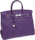 Luxury Accessories:Bags, Hermes 40cm Iris Clemence Leather Birkin Bag with Palladium Hardware. ...