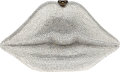 Luxury Accessories:Bags, Timmy Woods Full Bead Oversize Silver Lips Minaudiere Evening Bag....
