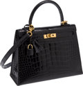Luxury Accessories:Bags, Hermes 25cm Shiny Black Alligator Rigide Kelly Bag with GoldHardware. ...