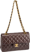 "Luxury Accessories:Bags, Chanel Chocolate Quilted Lambskin Leather Classic 9"" Double FlapBag with Gold Hardware. ..."