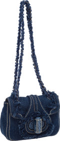 Luxury Accessories:Bags, Prada Blue Denim with Alligator Trim Turnlock Shoulder Bag. ...