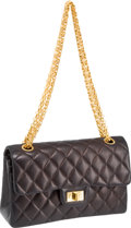 "Luxury Accessories:Bags, Chanel Black Quilted Lambskin Mademoiselle Classic 9"" Double FlapBag with Gold Hardware. ..."