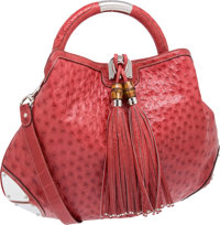 Gucci Bright Red Exotic Ostrich Collector's Large Indy Bag, Retail ~$9000