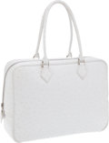 Luxury Accessories:Bags, Hermes 32cm Special Order White Ostrich Plume Bag with PalladiumHardware. ...