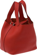 Luxury Accessories:Bags, Hermes Vermillion Red Clemence Leather Picotin PM Bag. ...