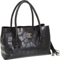 Luxury Accessories:Bags, Chanel Very Rare Matte Black Crocodile Cerf Tote Bag with Gunmetal Silver Hardware, Retail ~$30,000. ...