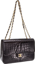 "Luxury Accessories:Bags, Chanel Shiny Black Crocodile Classic 12"" Double Flap Bag with Gold Hardware, Retail ~$28,000. ..."