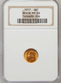 Commemorative Gold: , 1917 G$1 McKinley MS66 NGC. NGC Census: (198/47). PCGS Population(358/53). Mintage: 10,000. Numismedia Wsl. Price for prob...