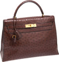 Luxury Accessories:Bags, Hermes 32cm Chocolate Ostrich Rigide Kelly Bag with Gold Hardware....