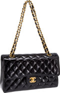 Luxury Accessories:Bags, Heritage Vintage: Chanel Special Black Patent Leather ClassicQuilted Double Flap Bag. ...