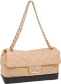 Luxury Accessories:Bags, Chanel Classic Beige Lambskin Leather Flap Bag with Black Base. ...