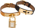Luxury Accessories:Accessories, Hermes 18K Yellow Gold and Diamond Kelly Watch with Two 18K Gold& Crocodile Straps. ...