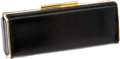 Luxury Accessories:Bags, Gucci 1960's Black Lizard Clutch with Gold Trim and Two Straps. ...