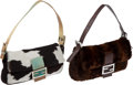 Luxury Accessories:Bags, Set of Two: Fendi Black & White Pony Hair and Beige & AquaSnakeskin Trim Baguette and Brown Fur & Lizard Baguette. ...(Total: 2 Items)