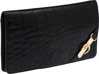 Fendi Early 1970's Shiny Alligator Two-Tone Hardware Buckle Clutch with Grommet Shoulder Strap