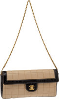 Luxury Accessories:Bags, Chanel Beige Lambskin Leather & Black Patent Leather SingleFlap Bag. ...