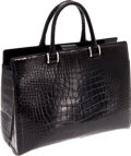 Luxury Accessories:Bags, Saks Fifth Avenue Shiny Black Alligator Bag. ...