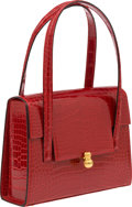 Luxury Accessories:Bags, Dumas Shiny Red Crocodile Bag with Credit Card Case. ...