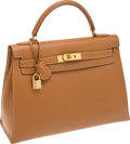 Luxury Accessories:Bags, Hermes 32cm Gold Epsom Leather Rigide Kelly Bag with Gold Hardware....