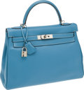 Luxury Accessories:Bags, Hermes 32cm Blue Jean Clemence Leather Retourne Kelly Bag withPalladium Hardware. ...