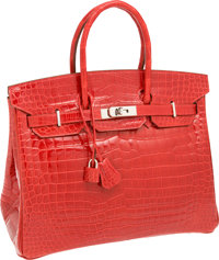 Hermes 35cm Shiny Braise Red Porosus Crocodile Birkin Bag with Palladium Hardware