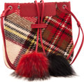 Luxury Accessories:Bags, Burberry Red Wool Plaid Pom-Pom Bag. ...