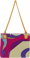 Luxury Accessories:Bags, Emilio Pucci 1960's Signature Silk Pattern Bag with Chain Strap....