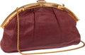 Luxury Accessories:Bags, Judith Leiber Raspberry Lizard Large Clutch with Bone ClosureClasp. ...