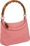 Luxury Accessories:Bags, Gucci Pink Pebbled Leather Shoulder Bag with Classic Bamboo Handle....