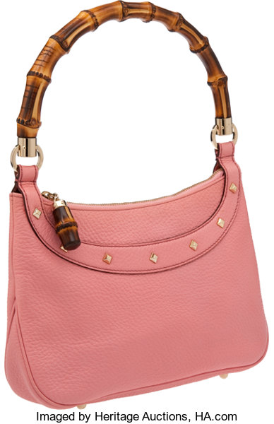 Luxury Accessories Bags Gucci Pink Pebbled Leather Shoulder Bag With Classic Bamboo Handle