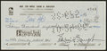 Football Collectibles:Others, Sammy Baugh Signed Check. ...