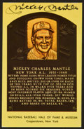 Baseball Collectibles:Others, Mickey Mantle Signed Hall Of Fame Plaque Postcard. ...