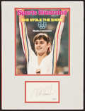 """Olympic Collectibles:Autographs, Nadia Comaneci Signed """"Sports Illustrated"""" Cover Print Display...."""